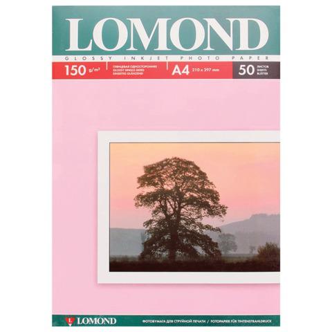 Фотобумага LOMOND для струйной печати А4, 150 г/м2, 50л, односторонняя глянцевая, 0102018  Код: 361579