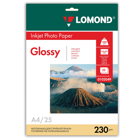 Фотобумага LOMOND для струйной печати А4, 230 г/м2, 25л, односторонняя глянцевая, 0102049  Код: 361581