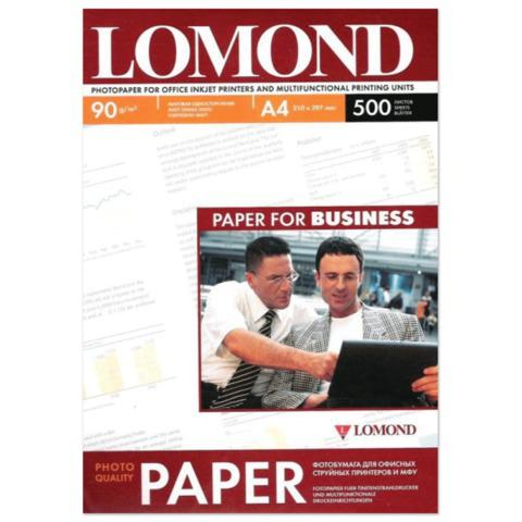 Фотобумага LOMOND для струйной печати, A4, 90 г/м2, 500 л., односторонняя, матовая 0102131  Код: 361582