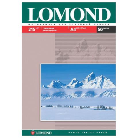 Фотобумага LOMOND для струйной печати А4, 215 г/м2, 50л, односторонняя глянцевая, 0102057  Код: 361583