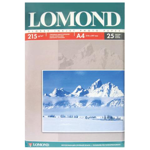 Фотобумага LOMOND для струйной печати, А4, 215 г/м2, 25 л., односторонняя, глянцевая 0102080  Код: 361590