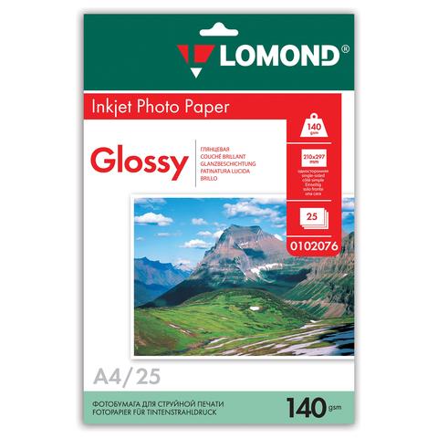 Фотобумага LOMOND для струйной печати, А4, 140 г/м2, 25 л., односторонняя, глянцевая 0102076  Код: 361591