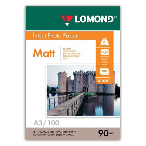 Фотобумага LOMOND для струйной печати, А3, 90 г/м2, 100 л., односторонняя, матовая (0102011)  Код: 362219
