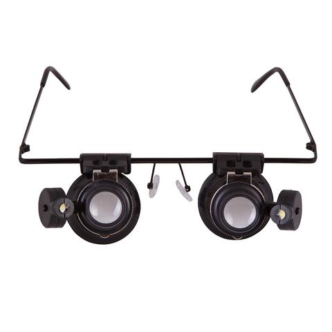 Лупа-очки LEVENHUK Zeno Vizor G2, увеличение х20, диаметр линз 15мм, подсветка, метал/пластик, 69672  Код: 452428